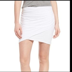 James Perse Wrap Ruched Mini Skirt white 2  $145